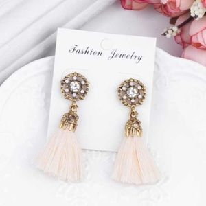 🌞  New Tassel Earrings Jeweled - Ivory